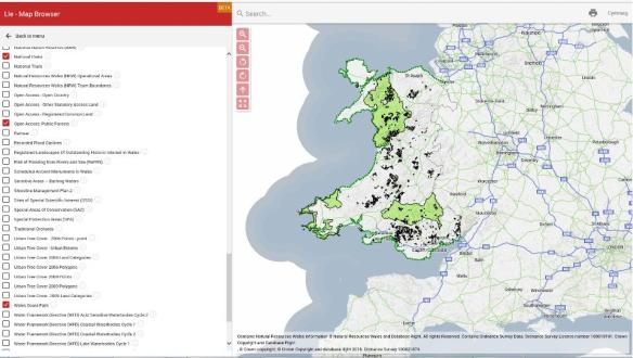 Map of Wales on Lle, showing Wales Coast Path, Public Forests and National Parks
