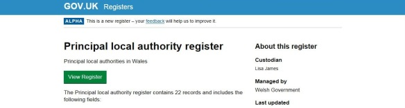 Image of the local authority register website
