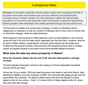 Well-being of Wales: Example of narrative