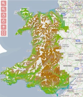 Map of Wales from geospatial platform
