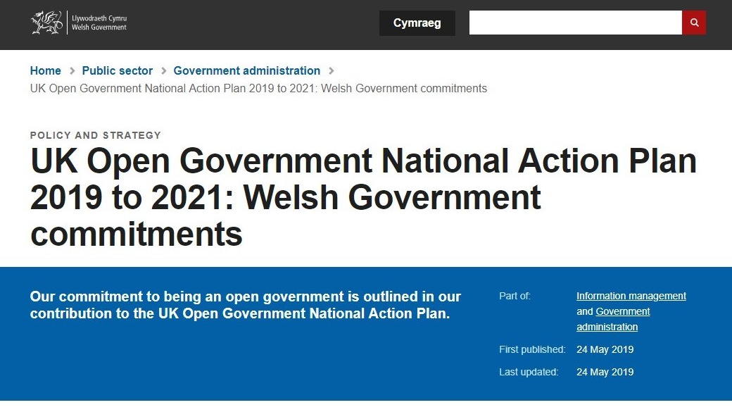 screen shot of Welsh Government commitments