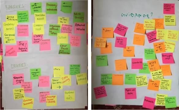 Image showing a selection of post-it notes from the workshop showing some barriers and drivers for open data and suggestions for what to include in open data guidance