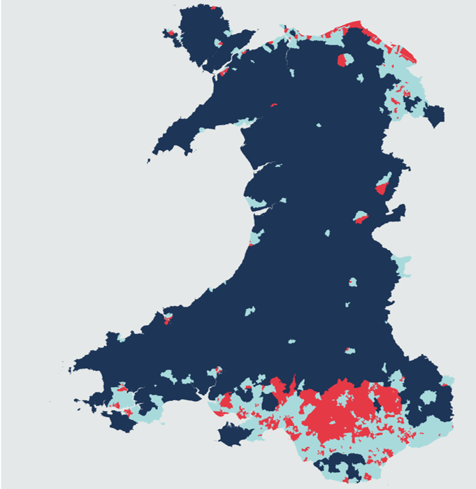 Three cluster groups for deprivation indicators in Wales.