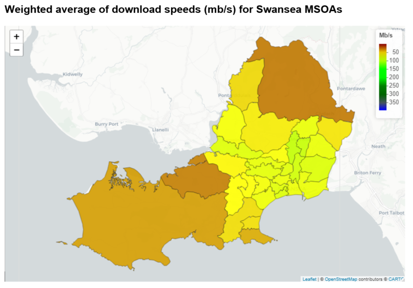 Weighted average of download speeds (mb/s) for Swansea MSOAs